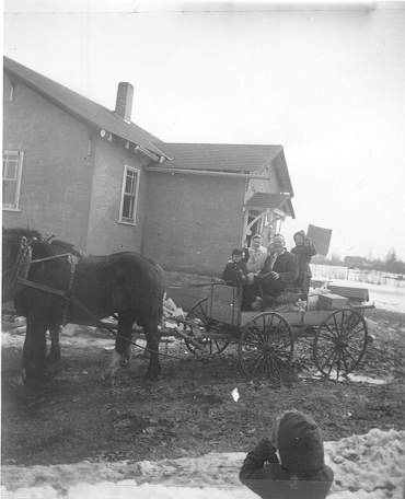 1958 Easter at Athabasca farm, horses and buggy copy