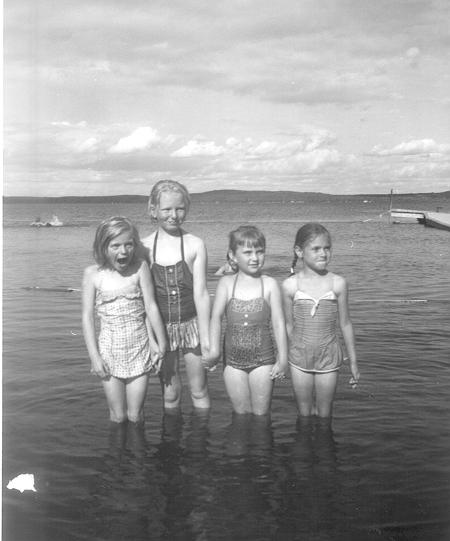 1961circa Elaine & Patricia at Baptist Lake with Beverly Rab copy